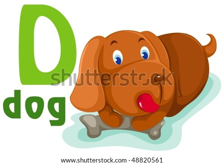 illustration of isolated animal alphabet D with puppy dog on white