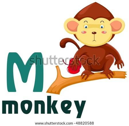 illustration of isolated animal alphabet M with elephant