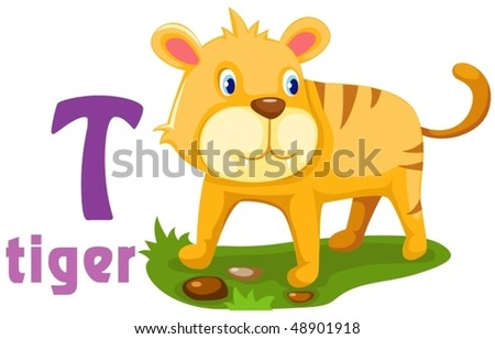 illustration of isolated animal alphabet  T with tiger