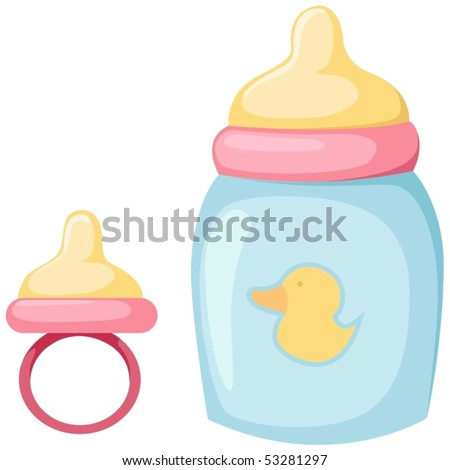 illustration of isolated baby bottle and pacifier on white