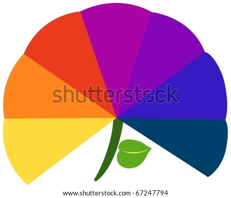 illustration of isolated basic warm colors on white - stock vector