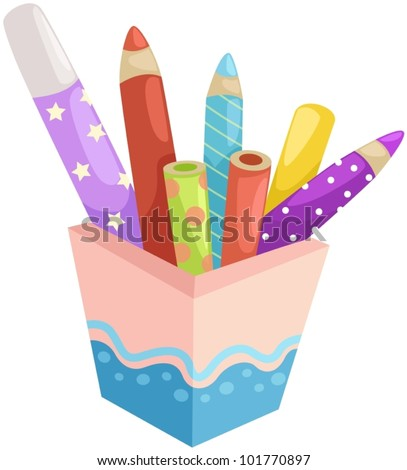 illustration of isolated box of crayons on white