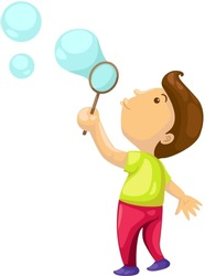 illustration of isolated boy blowing  bubbles on white