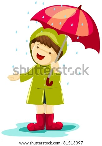 illustration of isolated boy in rain with umbrella on white