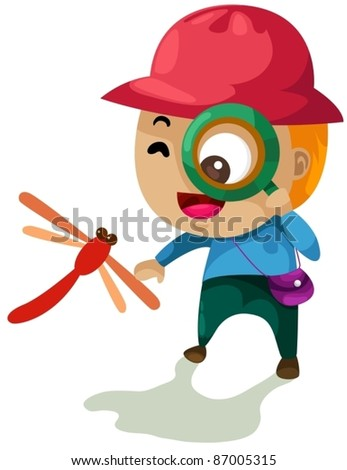 illustration of isolated boy looking through a magnifying glass