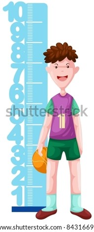 illustration of isolated boy with height scale on white