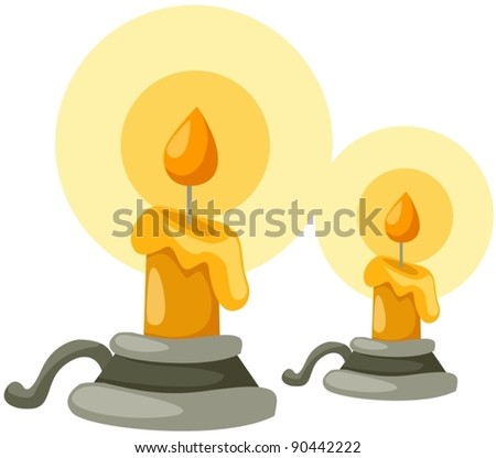 illustration of isolated candlestick with candle on white