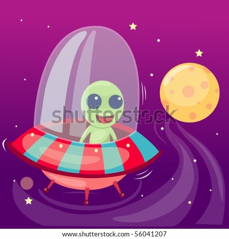 illustration of isolated cartoon alien drive ufo