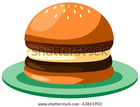 illustration of isolated cartoon burger on white background