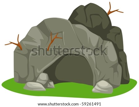 illustration of isolated cartoon cave on white background