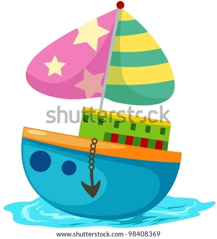 illustration of isolated  cartoon colorful boat on white