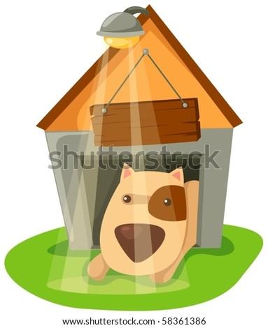 illustration of isolated cartoon dog in dog house on white