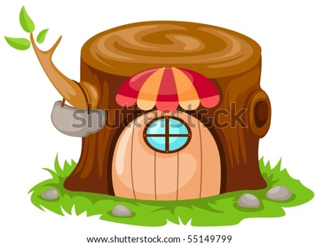illustration of isolated cartoon fairy tale house on white