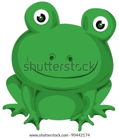 illustration of isolated cartoon frog on white background
