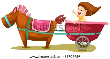 Horse Carriage Cartoon Girl in Horse Carriage