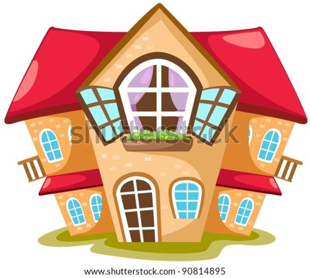 illustration of isolated cartoon house on white  background - stock vector