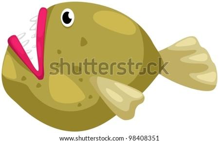 illustration of isolated cartoon piranha on white background - stock vector