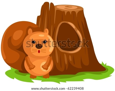 illustration of isolated cartoon squirrel on white background