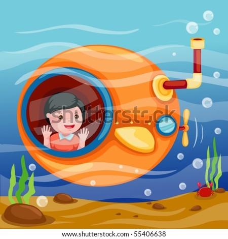 illustration of isolated cartoon submarine underwater