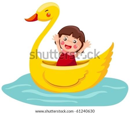 illustration of isolated cartoon swan boat on white