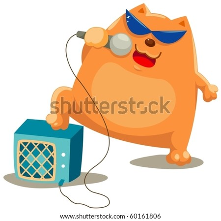 illustration of isolated cat singer on white background