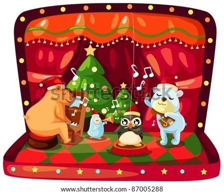 illustration of isolated christmas music box on white