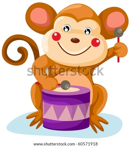 illustration of isolated circus monkey play drum on white