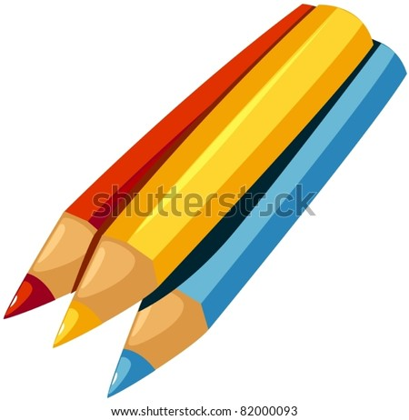 illustration of isolated color pencil on white background