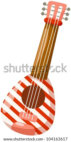 illustration of isolated colorful guitar on white