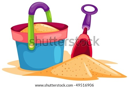 illustration of isolated colorful toy beach on white background
