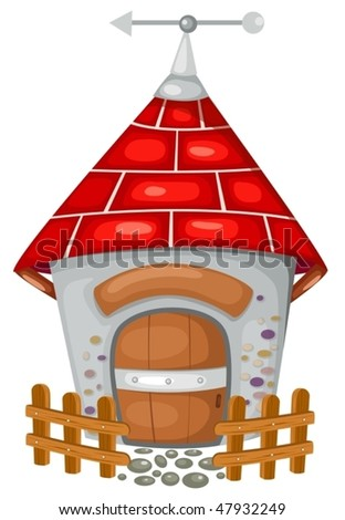 illustration of isolated country house on white background