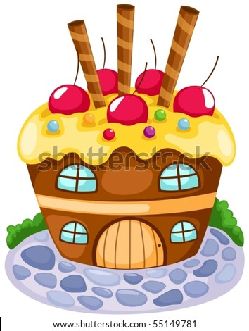 illustration of isolated cupcake house on white background