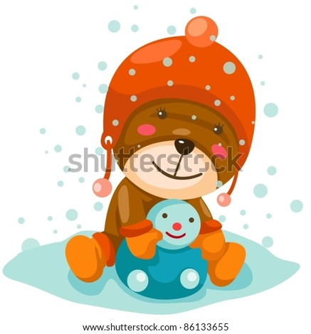 ... illustration of cute teddy bear doll on a isolated white background