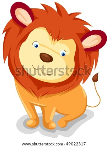 illustration of isolated cute lion sitting on white background