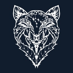 Illustration of isolated  detailed wild wolf head in vintage and aztec style for textiles, print and tattoo. Line-art. Vector