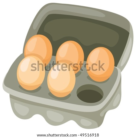 illustration of isolated eggs in carton on white background