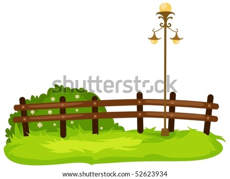 illustration of isolated fence with lamp on white