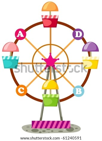 illustration of isolated ferris wheel on white background