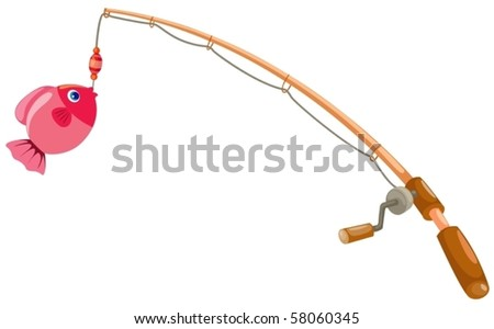 clipart fishing pole. of isolated fishing rod on