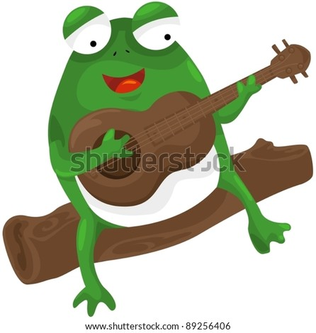 illustration of isolated frog playing a guitar on white