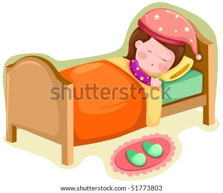 illustration of isolated girl sleeping on white background