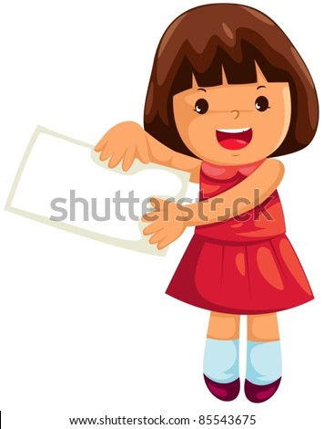 illustration of isolated girl with empty paper l on white