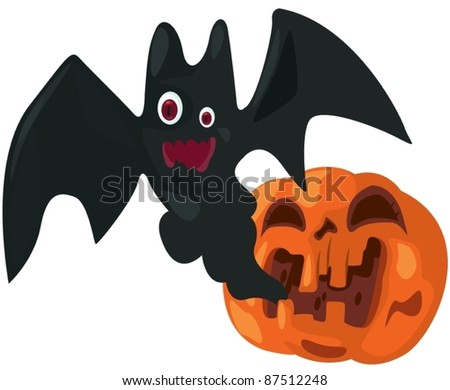 illustration of isolated halloween pumpkin with bat