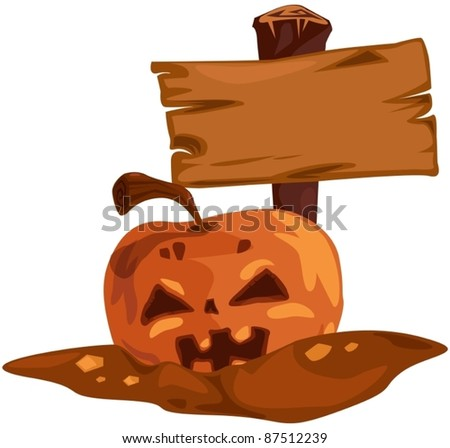 illustration of isolated halloween pumpkin with empty label