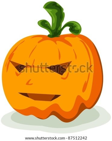 illustration of isolated halloween pumpkin with on white