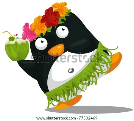 illustration of isolated Hawaii hula penguin on white background