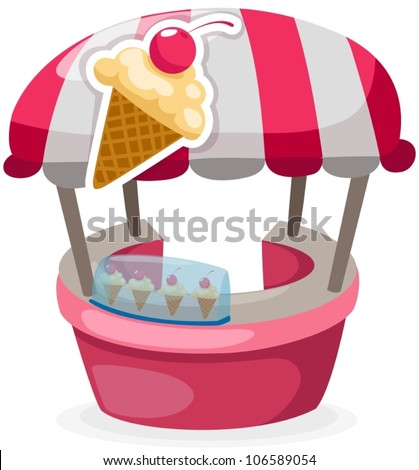 illustration of isolated ice cream stand shop on white