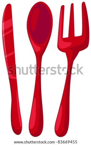 illustration of isolated knife, spoon ,fork on white background