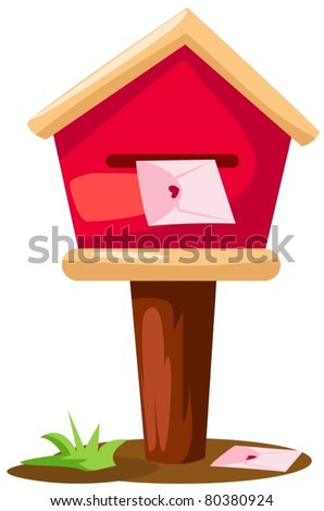 illustration of isolated mailbox with  letter on white background