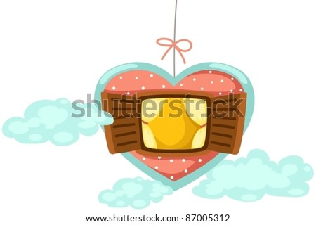illustration of isolated mobile window of heart on white